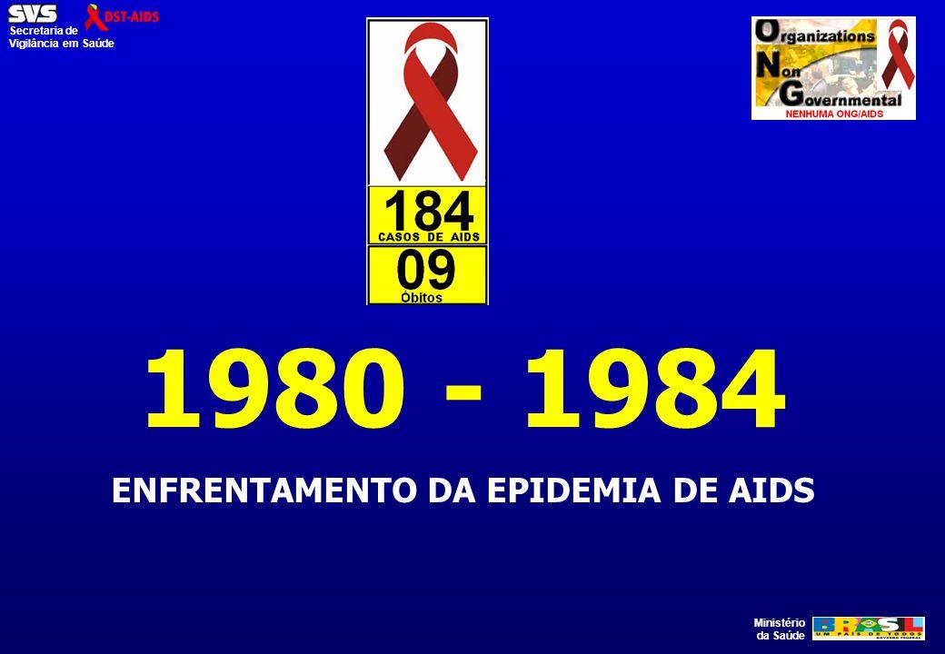 Ministério da Saúde Secretaria de Vigilância em Saúde 1980 - 1984 ENFRENTAMENTO DA EPIDEMIA DE AIDS