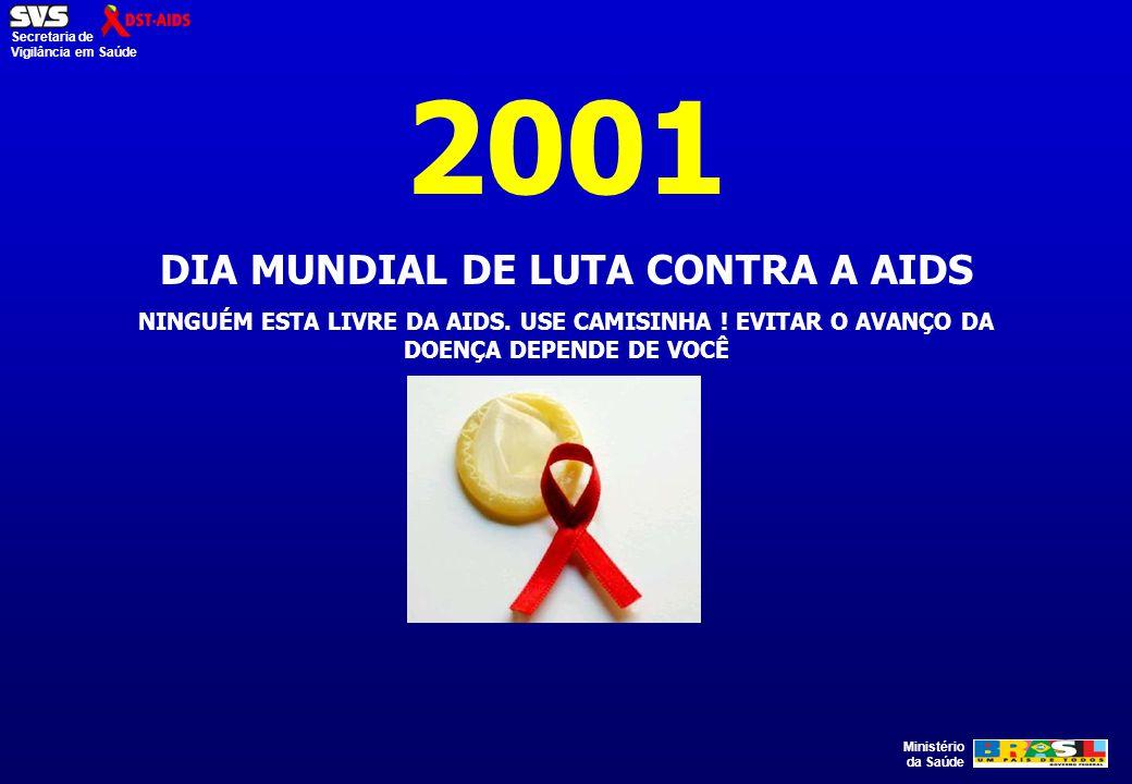 Ministério da Saúde Secretaria de Vigilância em Saúde 2001 DIA MUNDIAL DE LUTA CONTRA A AIDS NINGUÉM ESTA LIVRE DA AIDS. USE CAMISINHA ! EVITAR O AVAN