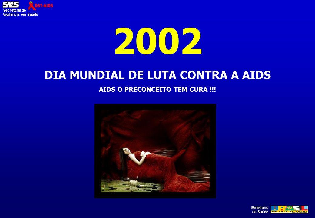 Ministério da Saúde Secretaria de Vigilância em Saúde 2002 DIA MUNDIAL DE LUTA CONTRA A AIDS AIDS O PRECONCEITO TEM CURA !!!
