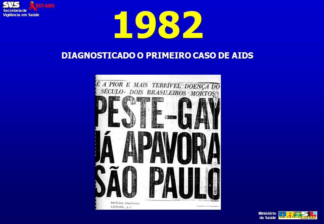 Ministério da Saúde Secretaria de Vigilância em Saúde 1982 DIAGNOSTICADO O PRIMEIRO CASO DE AIDS