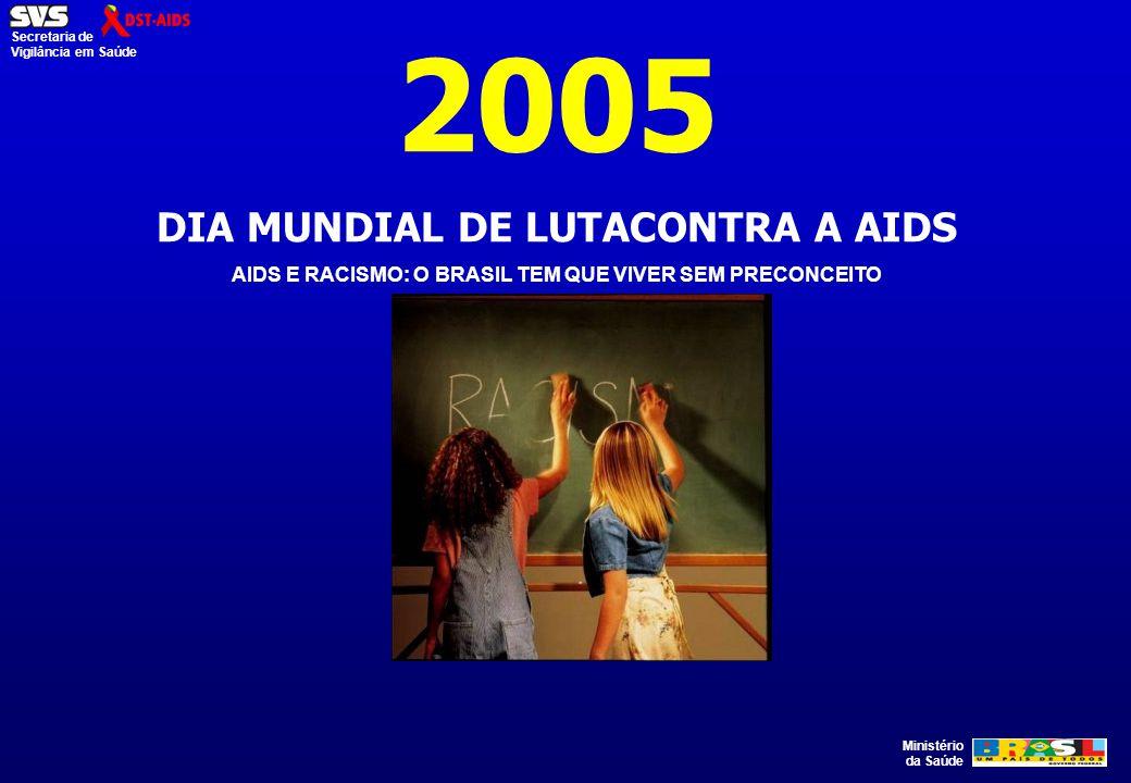 Ministério da Saúde Secretaria de Vigilância em Saúde 2005 DIA MUNDIAL DE LUTACONTRA A AIDS AIDS E RACISMO: O BRASIL TEM QUE VIVER SEM PRECONCEITO