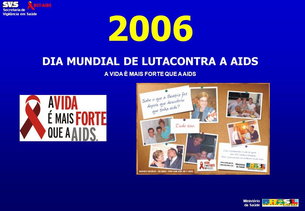 Ministério da Saúde Secretaria de Vigilância em Saúde 2006 DIA MUNDIAL DE LUTACONTRA A AIDS A VIDA É MAIS FORTE QUE A AIDS