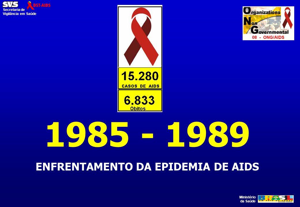 Ministério da Saúde Secretaria de Vigilância em Saúde 1985 - 1989 ENFRENTAMENTO DA EPIDEMIA DE AIDS