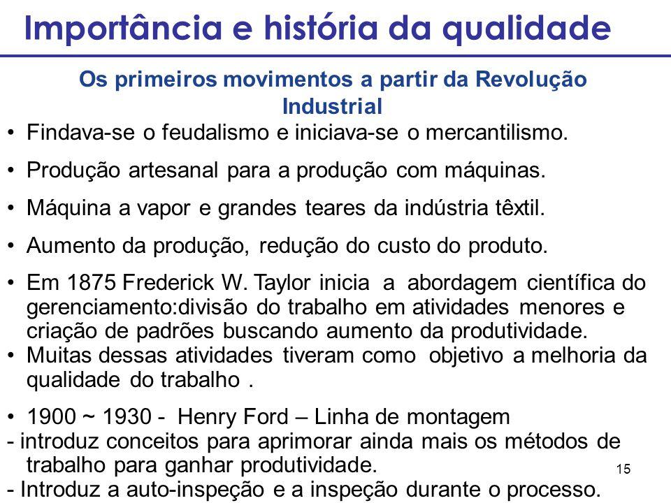 15 Importância e história da qualidade Os primeiros movimentos a partir da Revolução Industrial Findava-se o feudalismo e iniciava-se o mercantilismo.