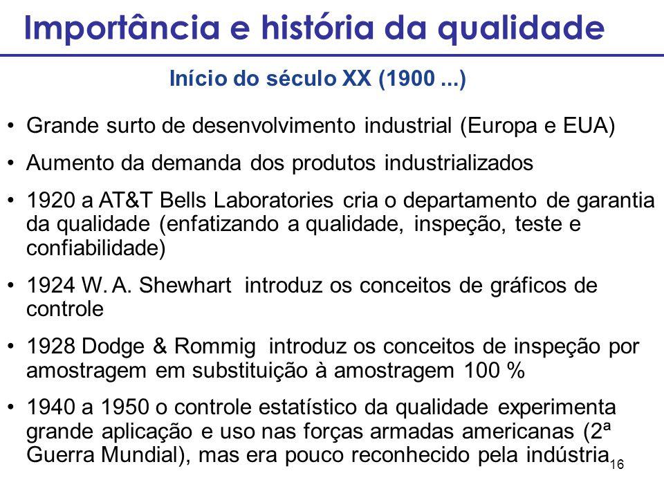 16 Importância e história da qualidade Início do século XX (1900...) Grande surto de desenvolvimento industrial (Europa e EUA) Aumento da demanda dos