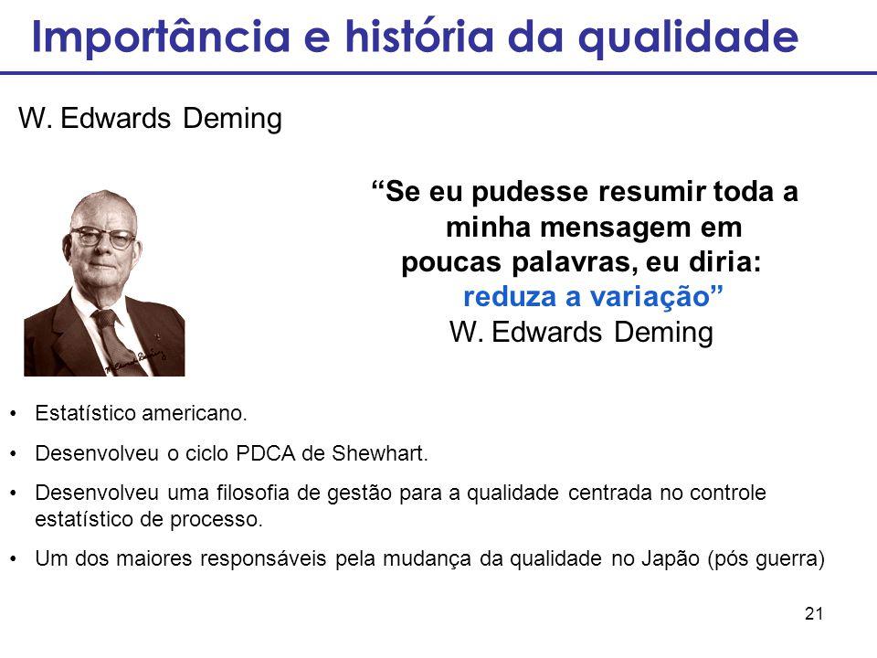 """21 """"Se eu pudesse resumir toda a minha mensagem em poucas palavras, eu diria: reduza a variação"""" W. Edwards Deming Estatístico americano. Desenvolveu"""