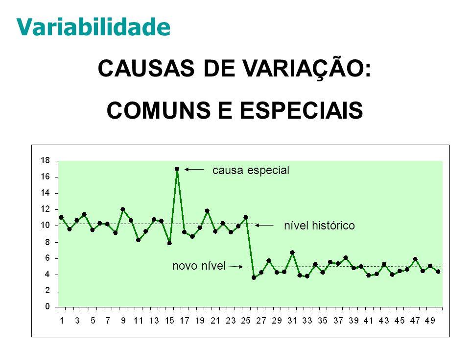 40 CAUSAS DE VARIAÇÃO: COMUNS E ESPECIAIS causa especial nível histórico novo nível Variabilidade