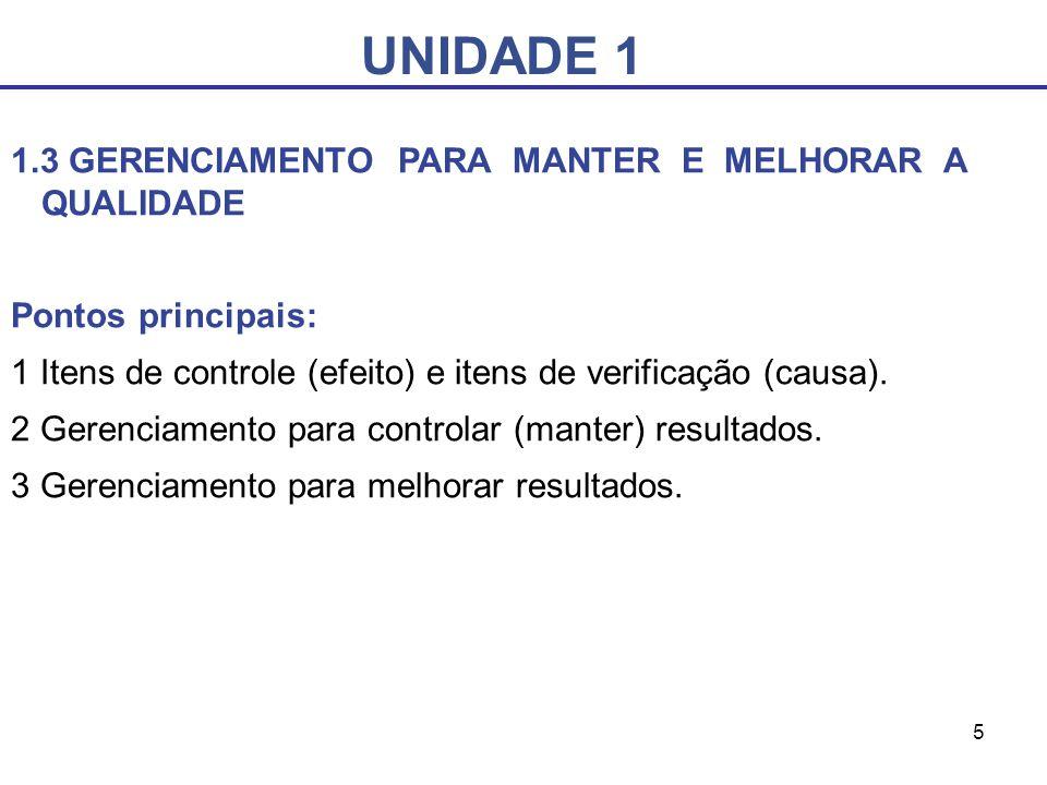 5 UNIDADE 1 1.3 GERENCIAMENTO PARA MANTER E MELHORAR A QUALIDADE Pontos principais: 1 Itens de controle (efeito) e itens de verificação (causa). 2 Ger