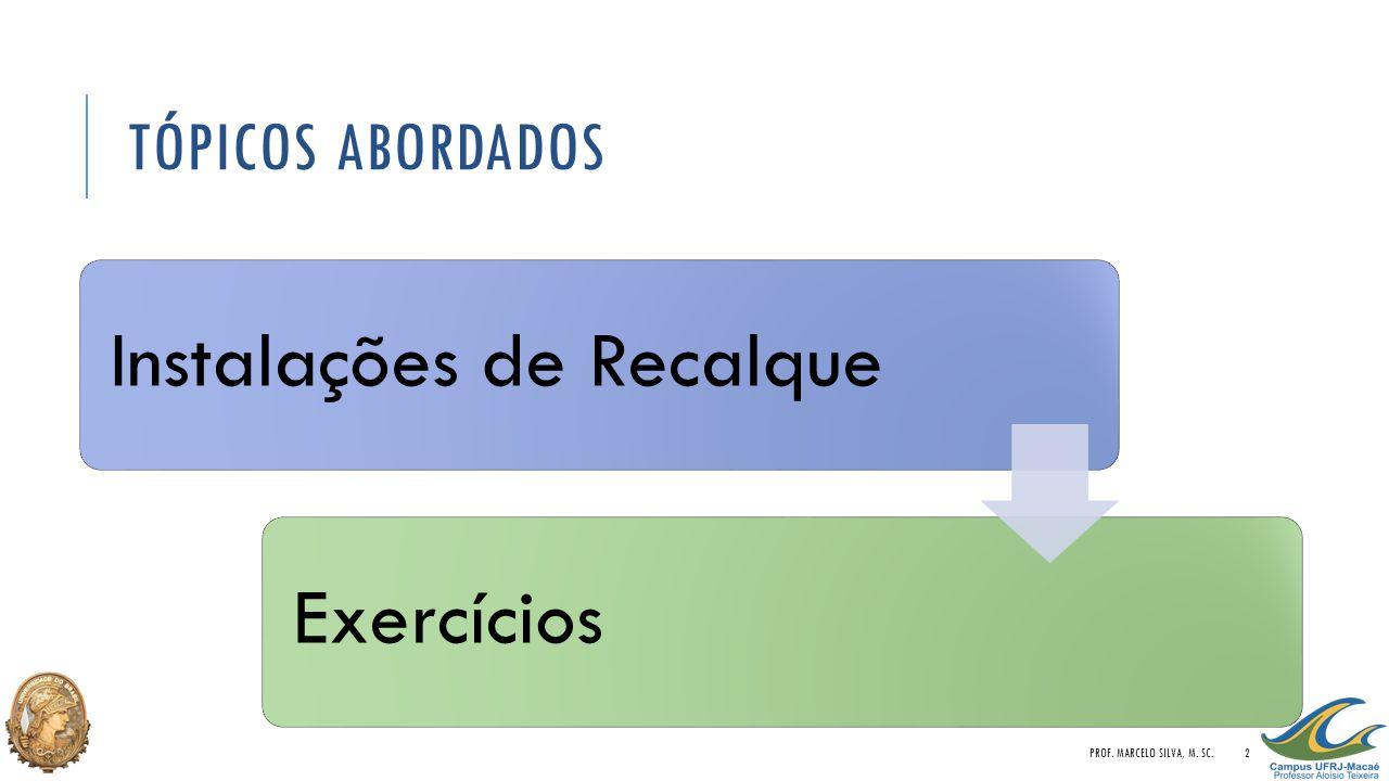 TÓPICOS ABORDADOS Instalações de RecalqueExercícios PROF. MARCELO SILVA, M. SC.2