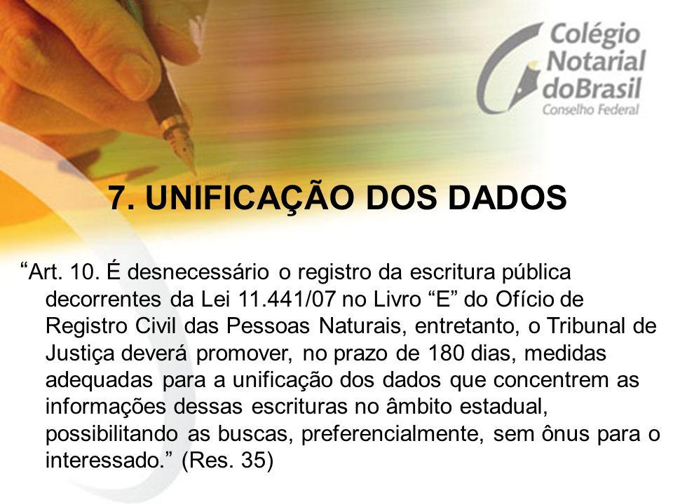 """7. UNIFICAÇÃO DOS DADOS """" Art. 10. É desnecessário o registro da escritura pública decorrentes da Lei 11.441/07 no Livro """"E"""" do Ofício de Registro Civ"""