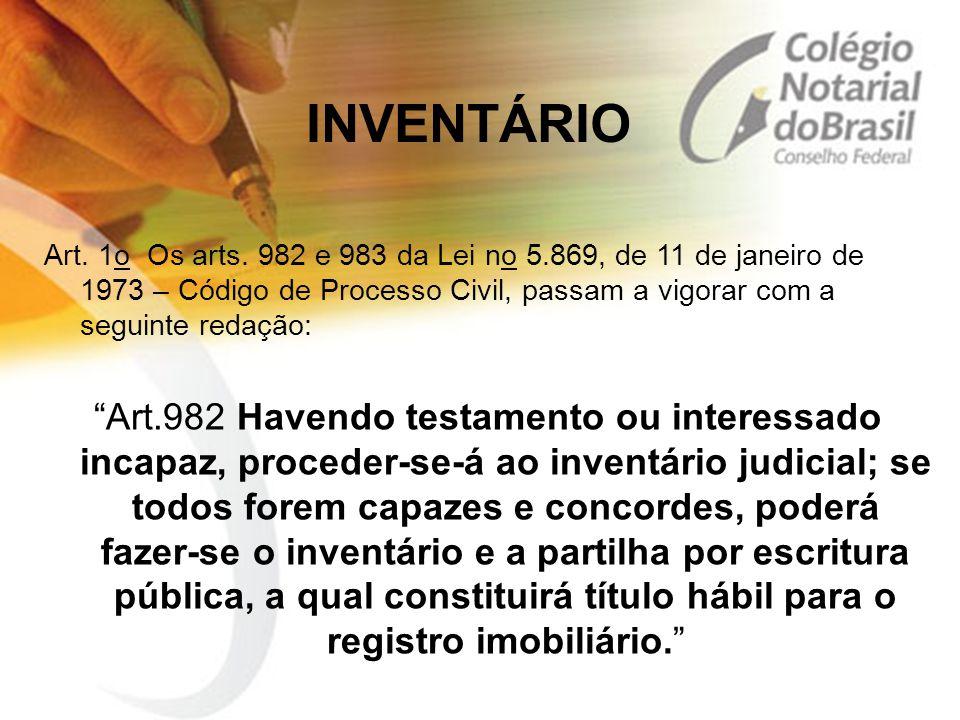 """INVENTÁRIO Art. 1o Os arts. 982 e 983 da Lei no 5.869, de 11 de janeiro de 1973 – Código de Processo Civil, passam a vigorar com a seguinte redação: """""""