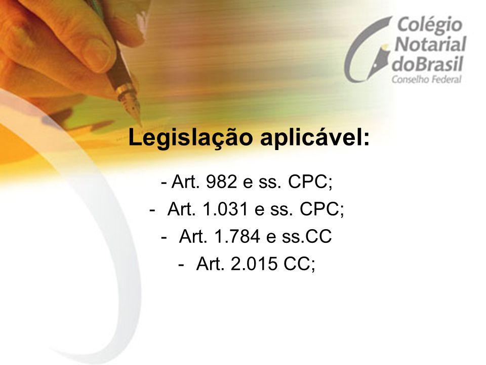 Legislação aplicável: - Art. 982 e ss. CPC; -Art. 1.031 e ss. CPC; -Art. 1.784 e ss.CC -Art. 2.015 CC;