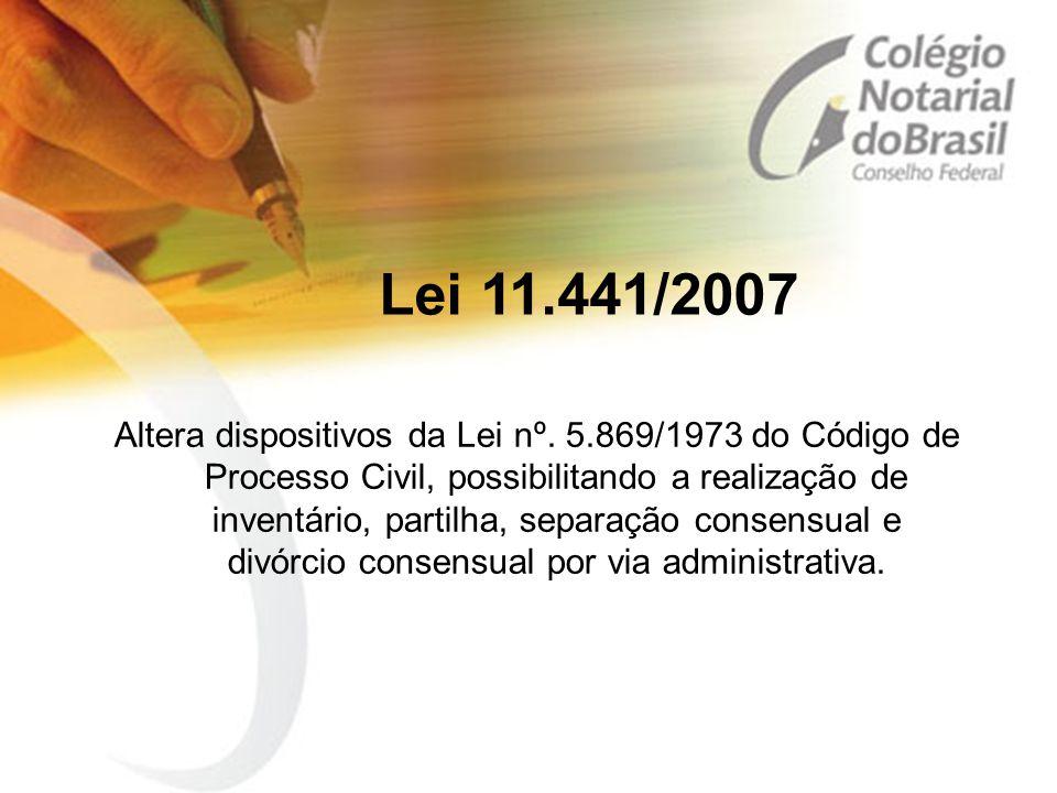 Lei 11.441/2007 Altera dispositivos da Lei nº. 5.869/1973 do Código de Processo Civil, possibilitando a realização de inventário, partilha, separação