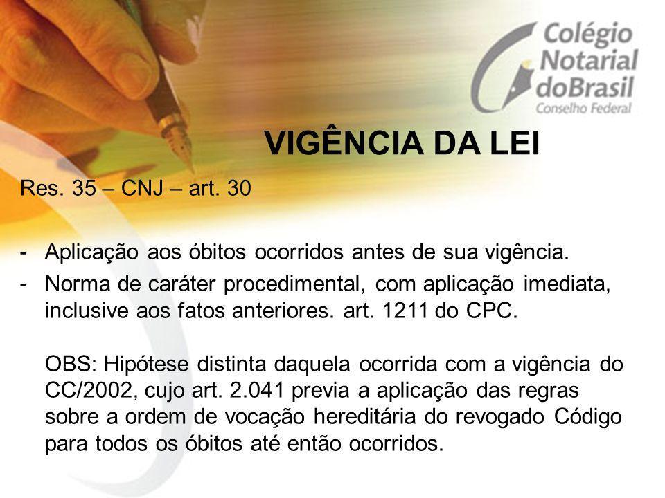 VIGÊNCIA DA LEI Res. 35 – CNJ – art. 30 -Aplicação aos óbitos ocorridos antes de sua vigência. -Norma de caráter procedimental, com aplicação imediata