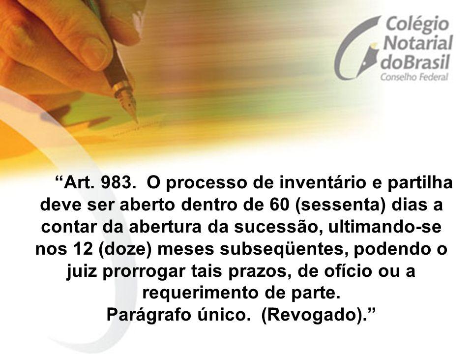 """""""Art. 983. O processo de inventário e partilha deve ser aberto dentro de 60 (sessenta) dias a contar da abertura da sucessão, ultimando-se nos 12 (doz"""