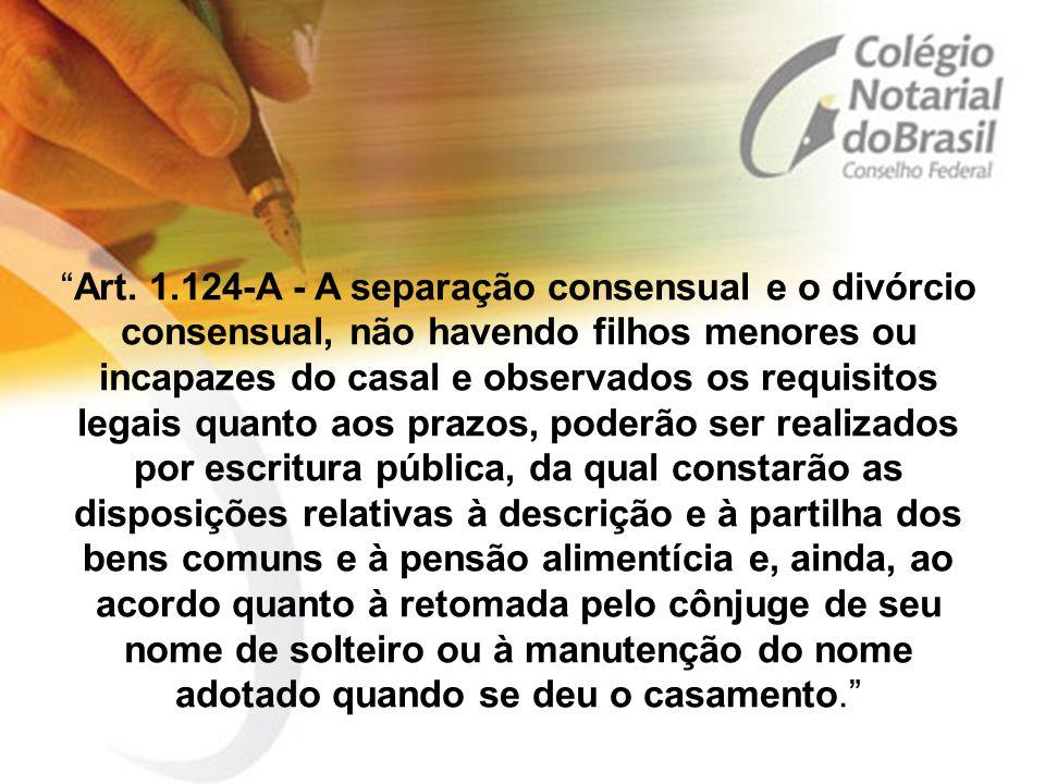 """""""Art. 1.124-A - A separação consensual e o divórcio consensual, não havendo filhos menores ou incapazes do casal e observados os requisitos legais qua"""