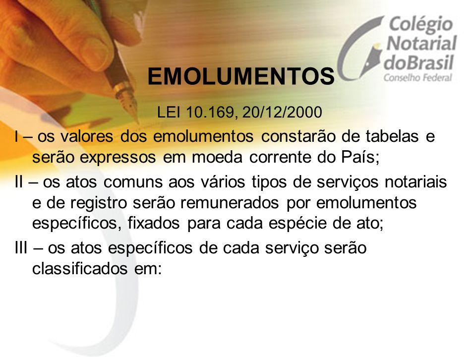 EMOLUMENTOS LEI 10.169, 20/12/2000 I – os valores dos emolumentos constarão de tabelas e serão expressos em moeda corrente do País; II – os atos comun