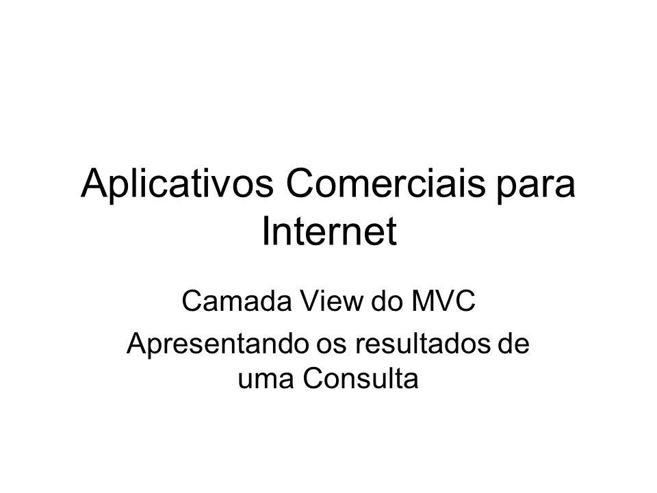 Aplicativos Comerciais para Internet Camada View do MVC Apresentando os resultados de uma Consulta