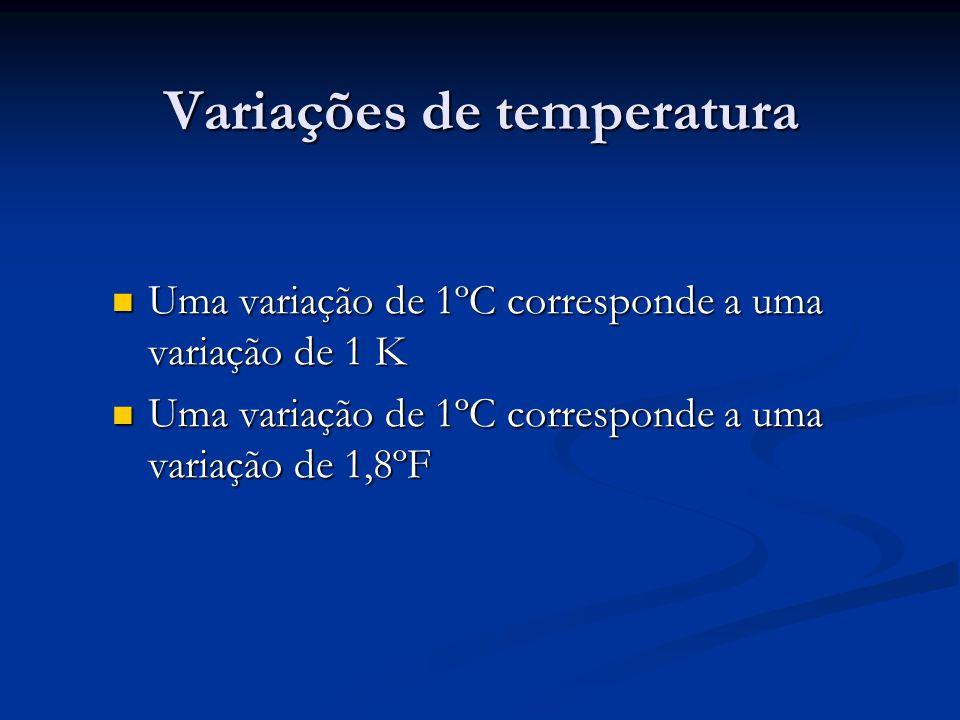 Uma variação de 1ºC corresponde a uma variação de 1 K Uma variação de 1ºC corresponde a uma variação de 1 K Uma variação de 1ºC corresponde a uma variação de 1,8ºF Uma variação de 1ºC corresponde a uma variação de 1,8ºF