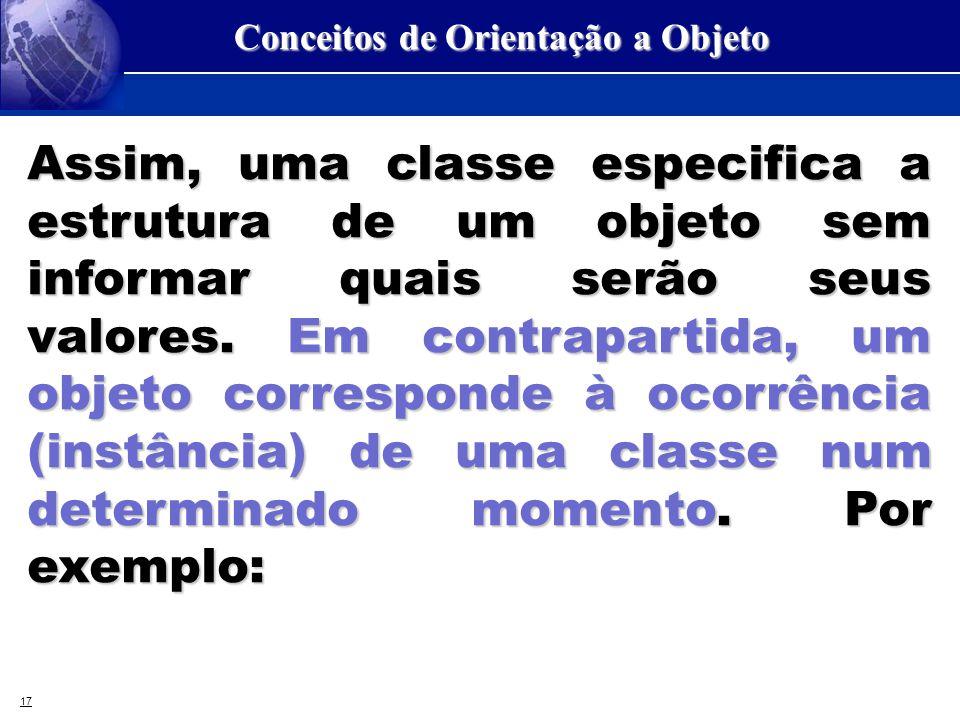 17 Conceitos de Orientação a Objeto Assim, uma classe especifica a estrutura de um objeto sem informar quais serão seus valores. Em contrapartida, um