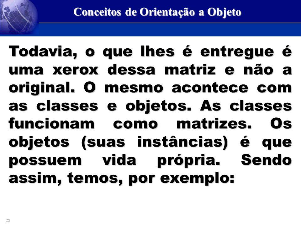 21 Conceitos de Orientação a Objeto Todavia, o que lhes é entregue é uma xerox dessa matriz e não a original. O mesmo acontece com as classes e objeto