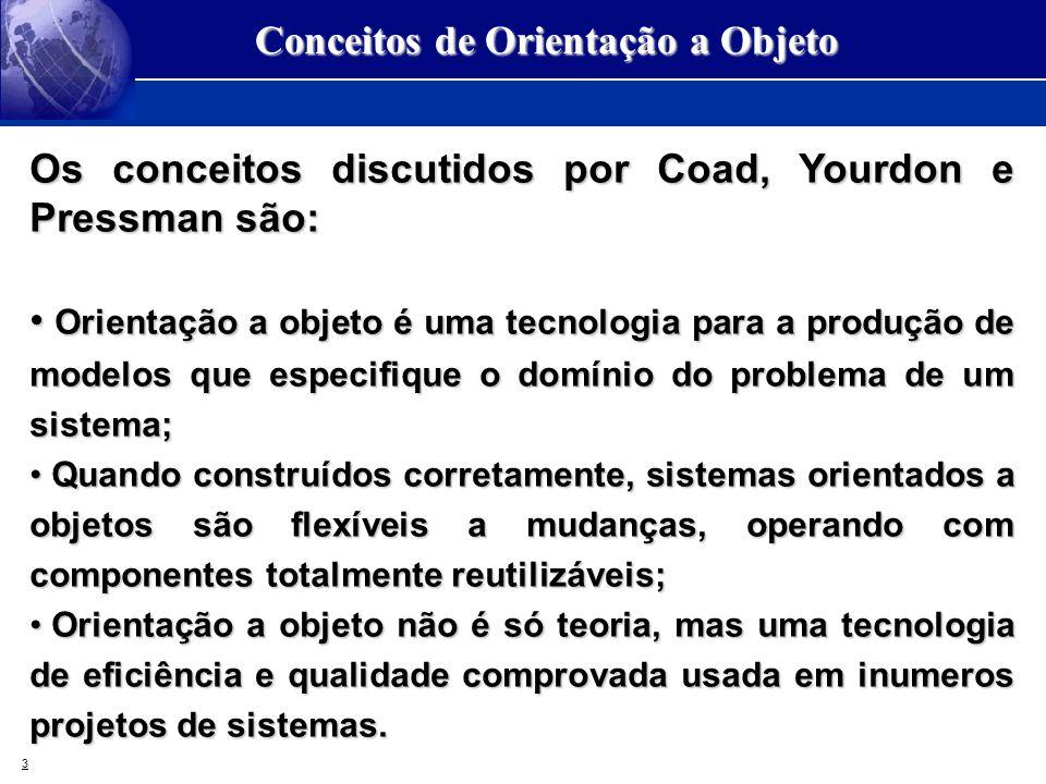 3 Conceitos de Orientação a Objeto Os conceitos discutidos por Coad, Yourdon e Pressman são: Orientação a objeto é uma tecnologia para a produção de m