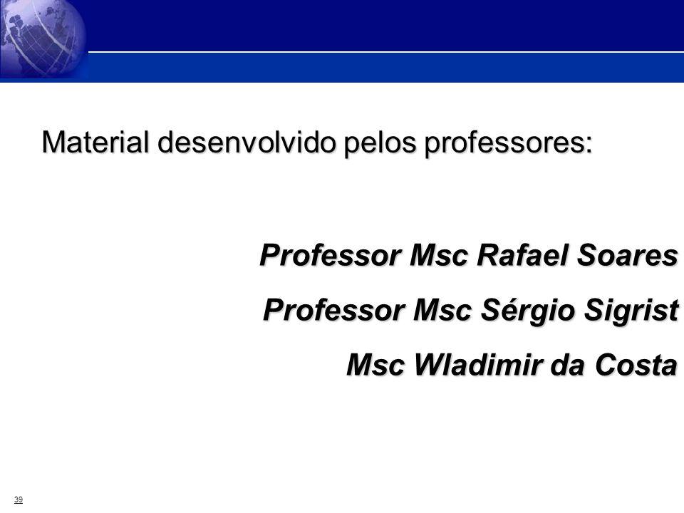 39 Material desenvolvido pelos professores: Professor Msc Rafael Soares Professor Msc Sérgio Sigrist Msc Wladimir da Costa Msc Wladimir da Costa
