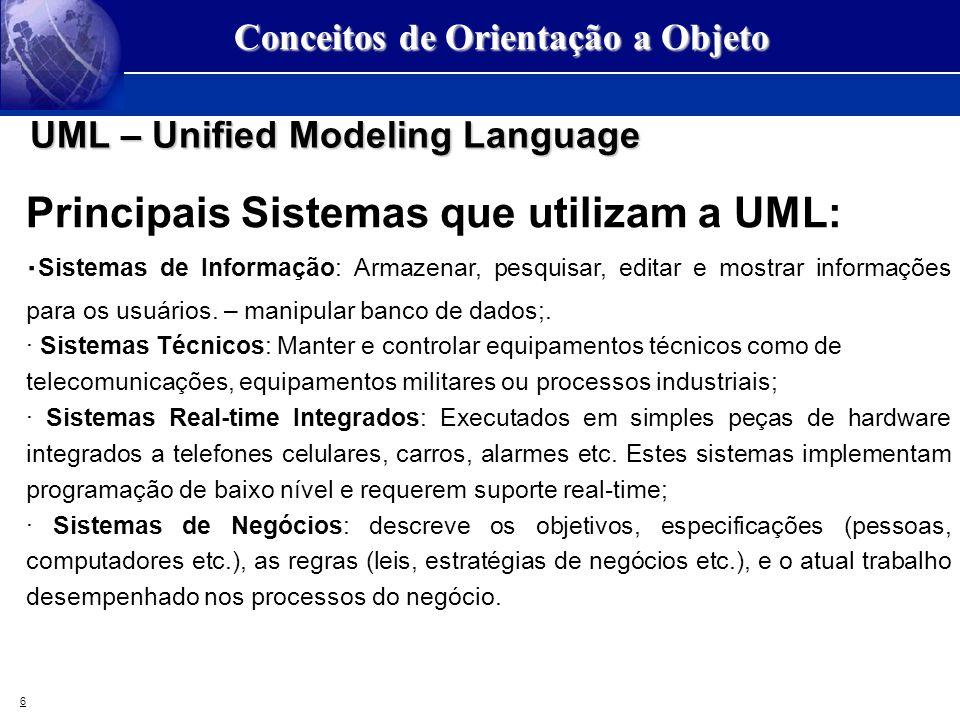 6 Conceitos de Orientação a Objeto UML – Unified Modeling Language Principais Sistemas que utilizam a UML: · Sistemas de Informação: Armazenar, pesqui