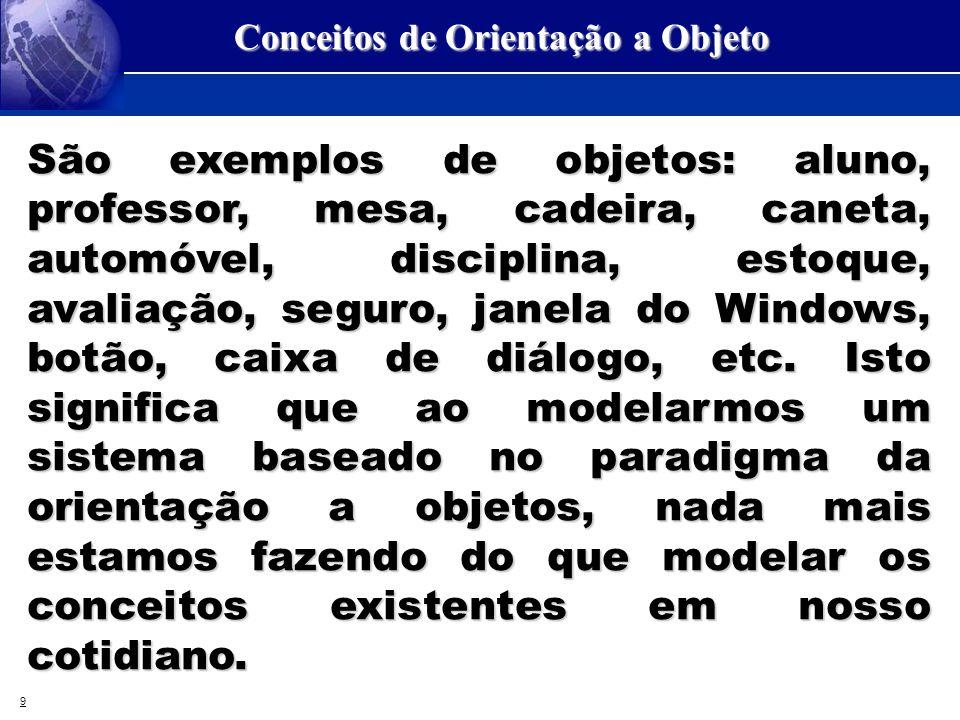 9 Conceitos de Orientação a Objeto São exemplos de objetos: aluno, professor, mesa, cadeira, caneta, automóvel, disciplina, estoque, avaliação, seguro