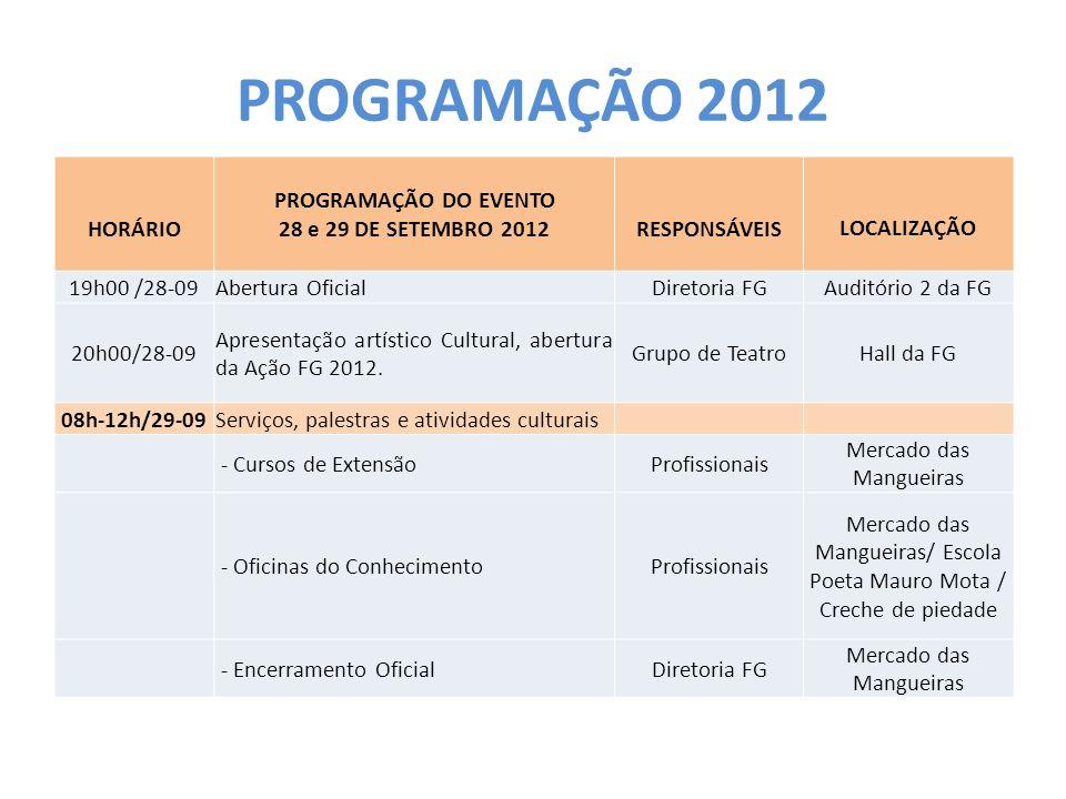 PROGRAMAÇÃO 2012 HORÁRIO PROGRAMAÇÃO DO EVENTO 28 e 29 DE SETEMBRO 2012RESPONSÁVEISLOCALIZAÇÃO 19h00 /28-09Abertura OficialDiretoria FGAuditório 2 da