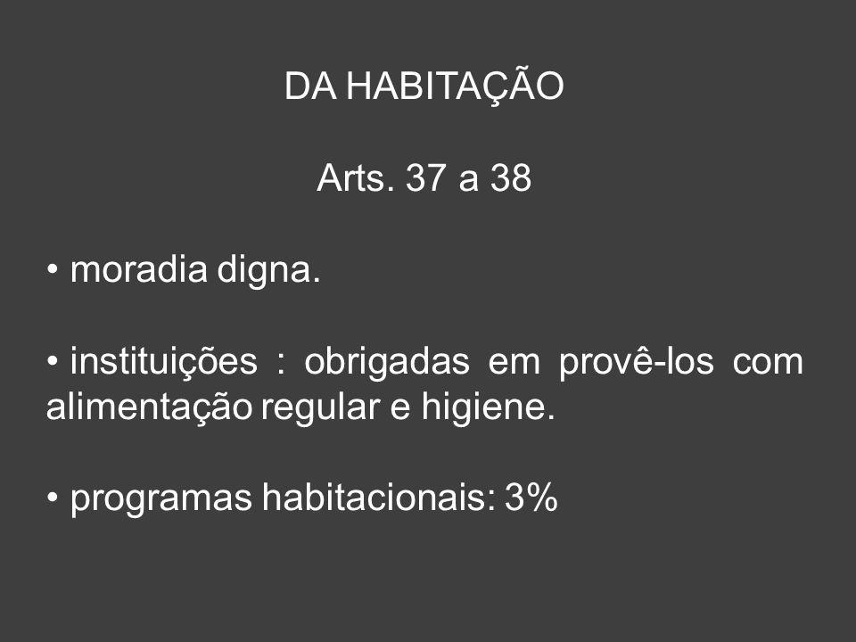DA HABITAÇÃO Arts. 37 a 38 moradia digna. instituições : obrigadas em provê-los com alimentação regular e higiene. programas habitacionais: 3%