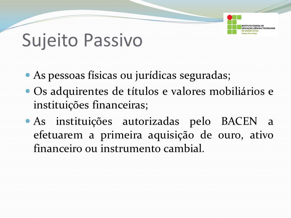 Sujeito Passivo As pessoas físicas ou jurídicas seguradas; Os adquirentes de títulos e valores mobiliários e instituições financeiras; As instituições
