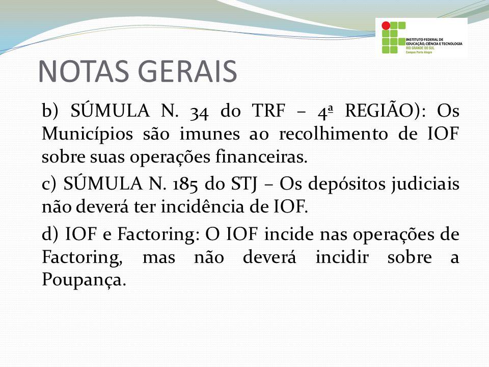 NOTAS GERAIS b) SÚMULA N. 34 do TRF – 4ª REGIÃO): Os Municípios são imunes ao recolhimento de IOF sobre suas operações financeiras. c) SÚMULA N. 185 d