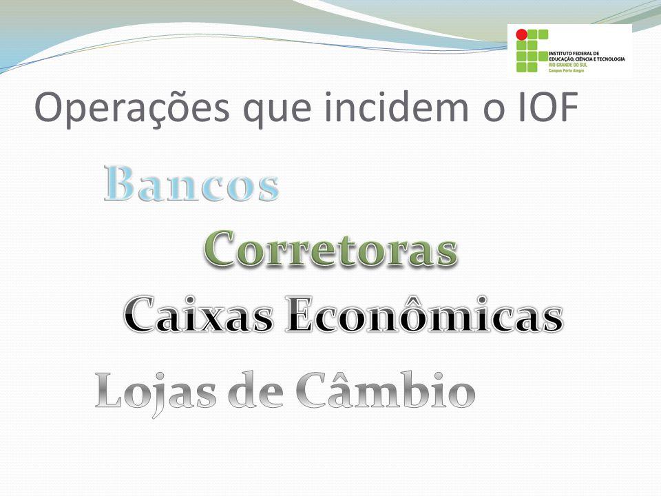 Operações que incidem o IOF