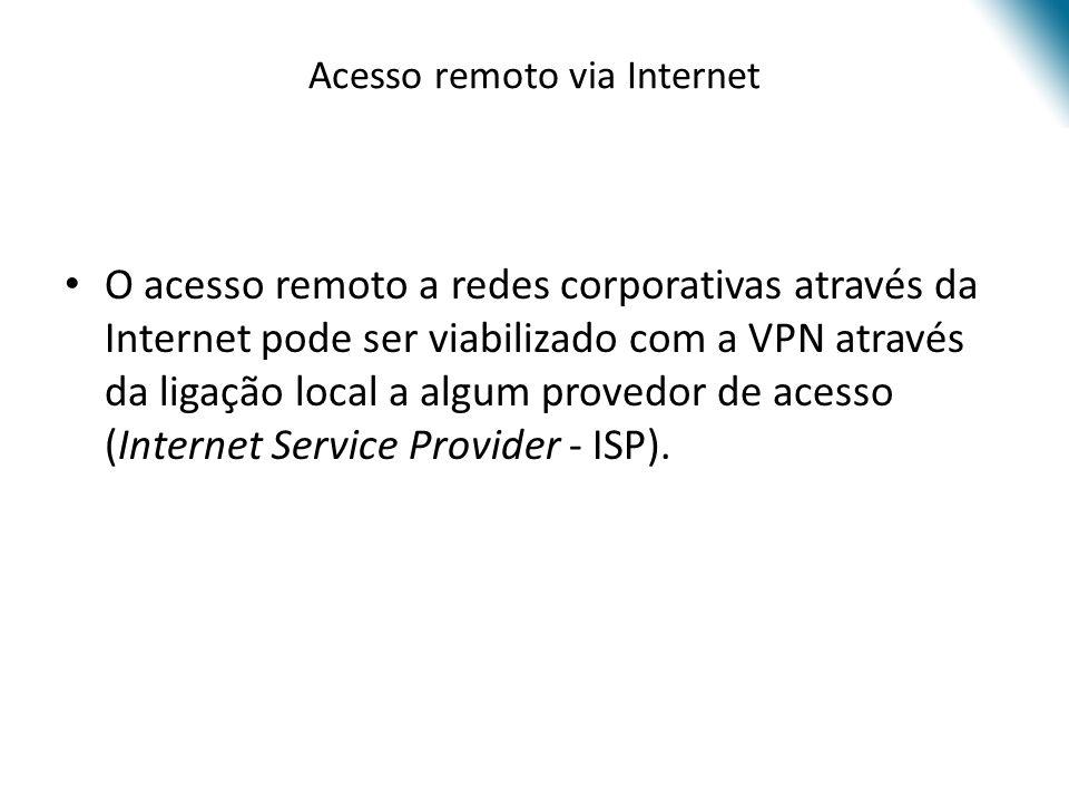 Acesso remoto via Internet O acesso remoto a redes corporativas através da Internet pode ser viabilizado com a VPN através da ligação local a algum pr