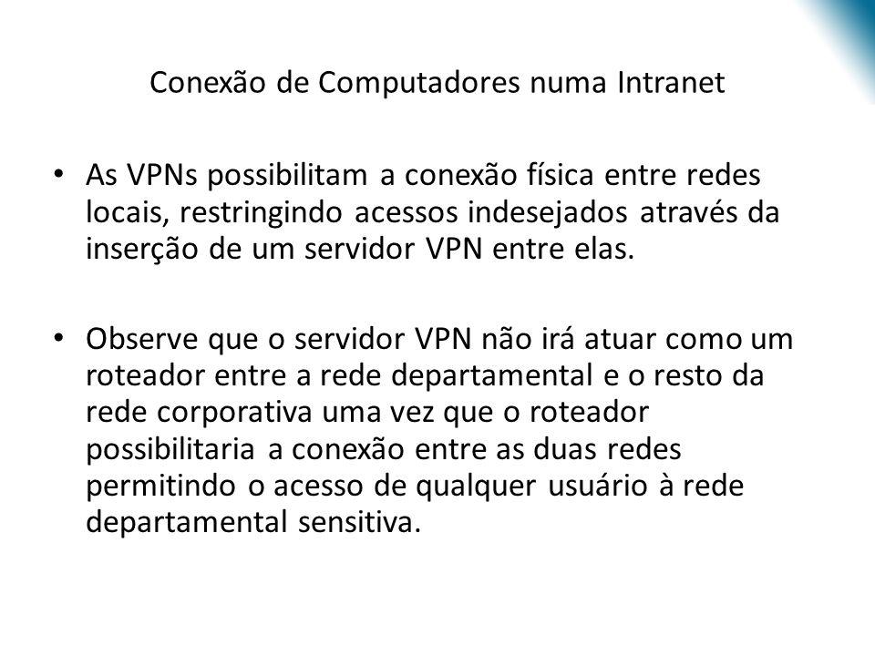 Conexão de Computadores numa Intranet As VPNs possibilitam a conexão física entre redes locais, restringindo acessos indesejados através da inserção d
