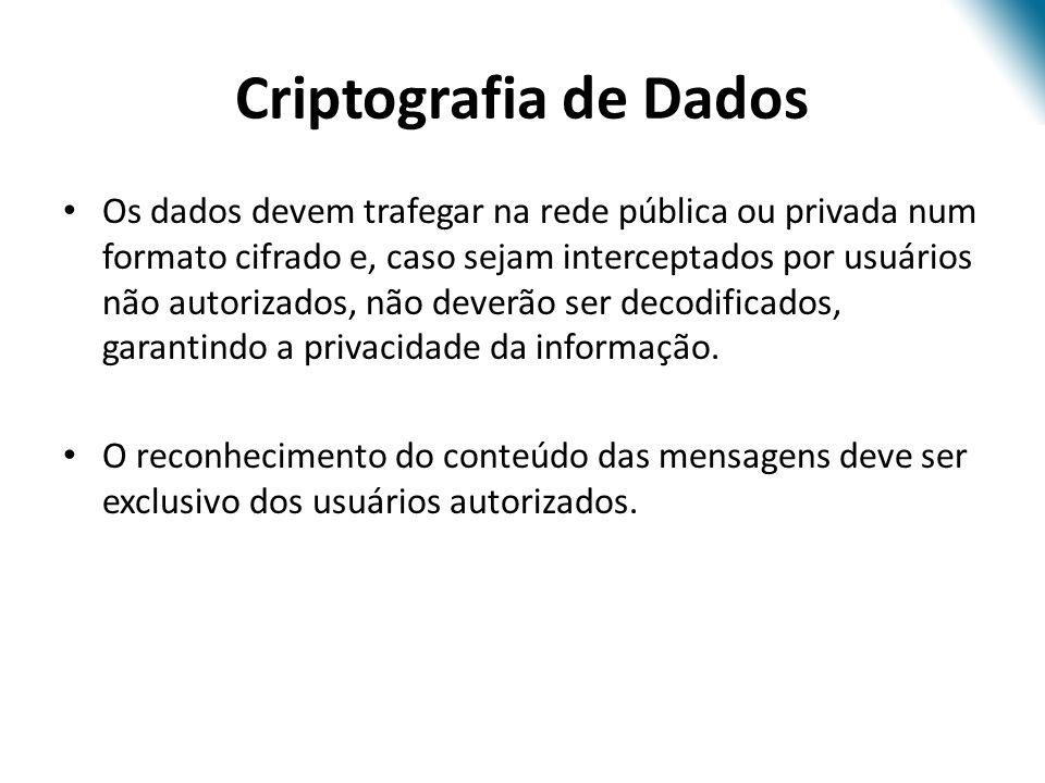 Criptografia de Dados Os dados devem trafegar na rede pública ou privada num formato cifrado e, caso sejam interceptados por usuários não autorizados,
