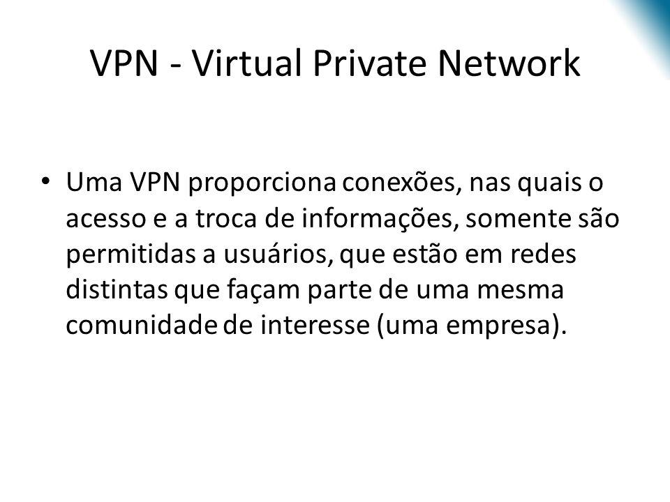 VPN - Virtual Private Network Uma VPN proporciona conexões, nas quais o acesso e a troca de informações, somente são permitidas a usuários, que estão