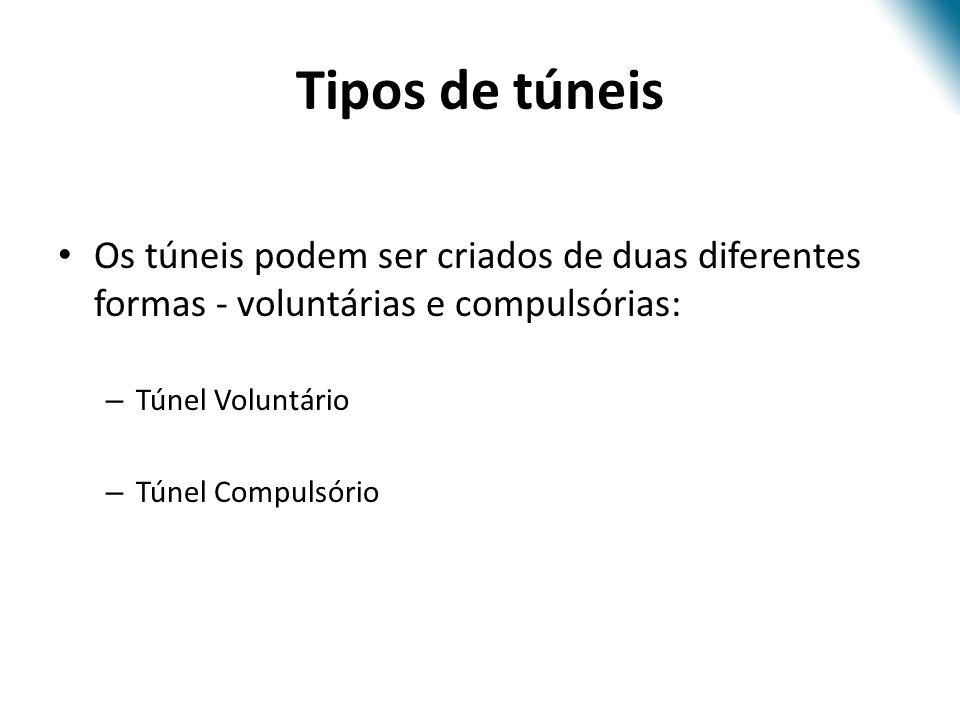 Tipos de túneis Os túneis podem ser criados de duas diferentes formas - voluntárias e compulsórias: – Túnel Voluntário – Túnel Compulsório
