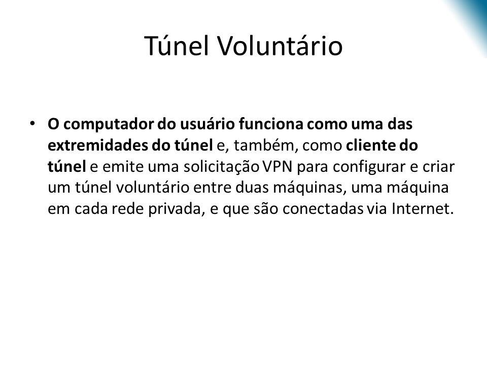 Túnel Voluntário O computador do usuário funciona como uma das extremidades do túnel e, também, como cliente do túnel e emite uma solicitação VPN para