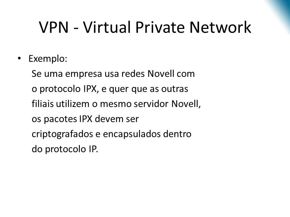 VPN - Virtual Private Network Exemplo: Se uma empresa usa redes Novell com o protocolo IPX, e quer que as outras filiais utilizem o mesmo servidor Nov