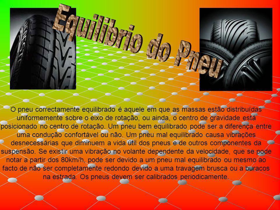 O pneu correctamente equilibrado é aquele em que as massas estão distribuídas uniformemente sobre o eixo de rotação, ou ainda, o centro de gravidade e