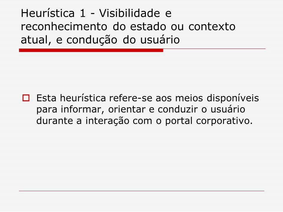 Heurística 1 - Recomendações  A página principal do portal deve ser capaz de responder às seguintes perguntas: Onde estou? e O que este portal faz? .