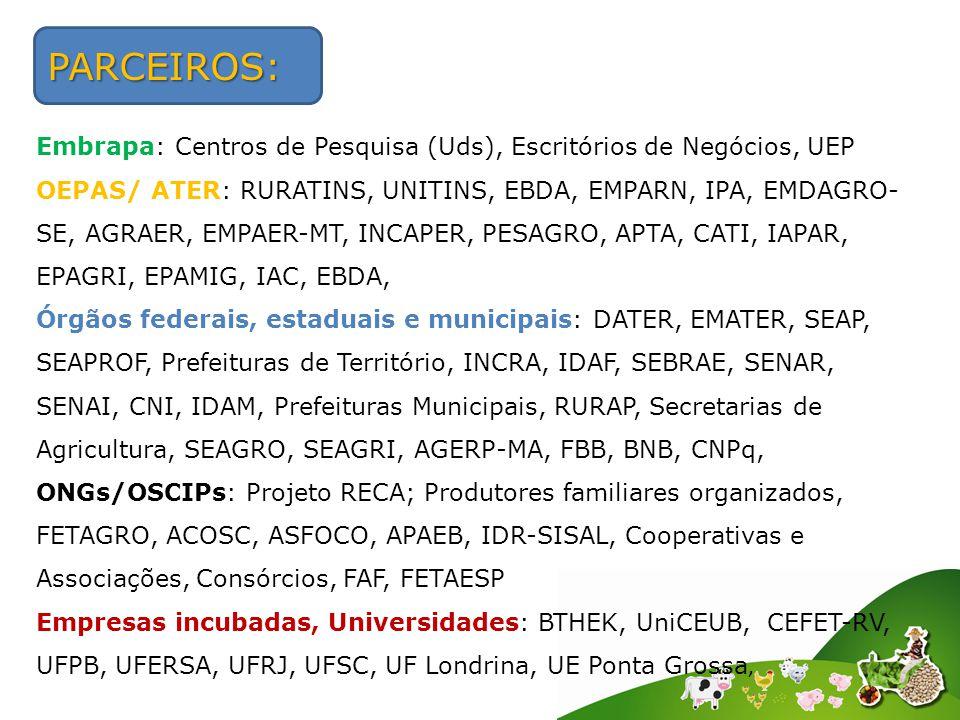 PARCEIROS: Embrapa: Centros de Pesquisa (Uds), Escritórios de Negócios, UEP OEPAS/ ATER: RURATINS, UNITINS, EBDA, EMPARN, IPA, EMDAGRO- SE, AGRAER, EMPAER-MT, INCAPER, PESAGRO, APTA, CATI, IAPAR, EPAGRI, EPAMIG, IAC, EBDA, Órgãos federais, estaduais e municipais: DATER, EMATER, SEAP, SEAPROF, Prefeituras de Território, INCRA, IDAF, SEBRAE, SENAR, SENAI, CNI, IDAM, Prefeituras Municipais, RURAP, Secretarias de Agricultura, SEAGRO, SEAGRI, AGERP-MA, FBB, BNB, CNPq, ONGs/OSCIPs: Projeto RECA; Produtores familiares organizados, FETAGRO, ACOSC, ASFOCO, APAEB, IDR-SISAL, Cooperativas e Associações, Consórcios, FAF, FETAESP Empresas incubadas, Universidades: BTHEK, UniCEUB, CEFET-RV, UFPB, UFERSA, UFRJ, UFSC, UF Londrina, UE Ponta Grossa,