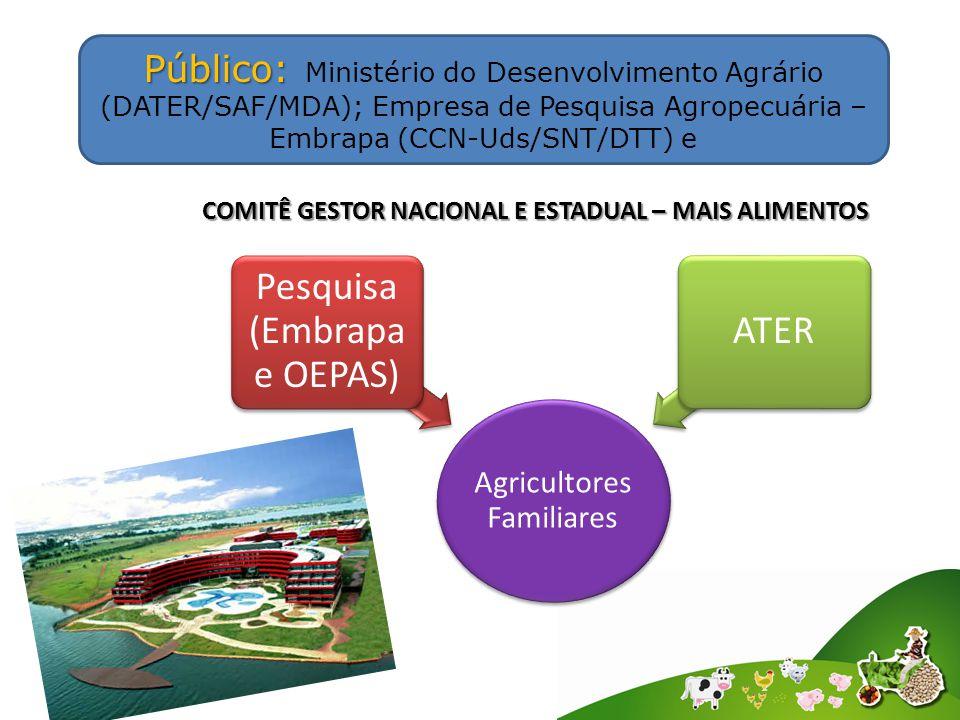 Agricultores Familiares Pesquisa (Embrapa e OEPAS) ATER Público: Público: Ministério do Desenvolvimento Agrário (DATER/SAF/MDA); Empresa de Pesquisa Agropecuária – Embrapa (CCN-Uds/SNT/DTT) e COMITÊ GESTOR NACIONAL E ESTADUAL – MAIS ALIMENTOS