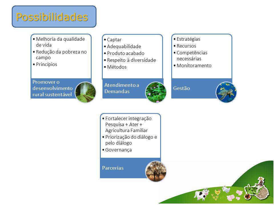 Possibilidades Melhoria da qualidade de vida Redução da pobreza no campo Princípios Promover o desenvolvimento rural sustentável Captar Adequabilidade Produto acabado Respeito à diversidade Métodos Atendimento a Demandas Estratégias Recursos Competências necessárias Monitoramento Gestão Fortalecer integração Pesquisa + Ater + Agricultura Familiar Priorização do diálogo e pelo diálogo Governança Parcerias