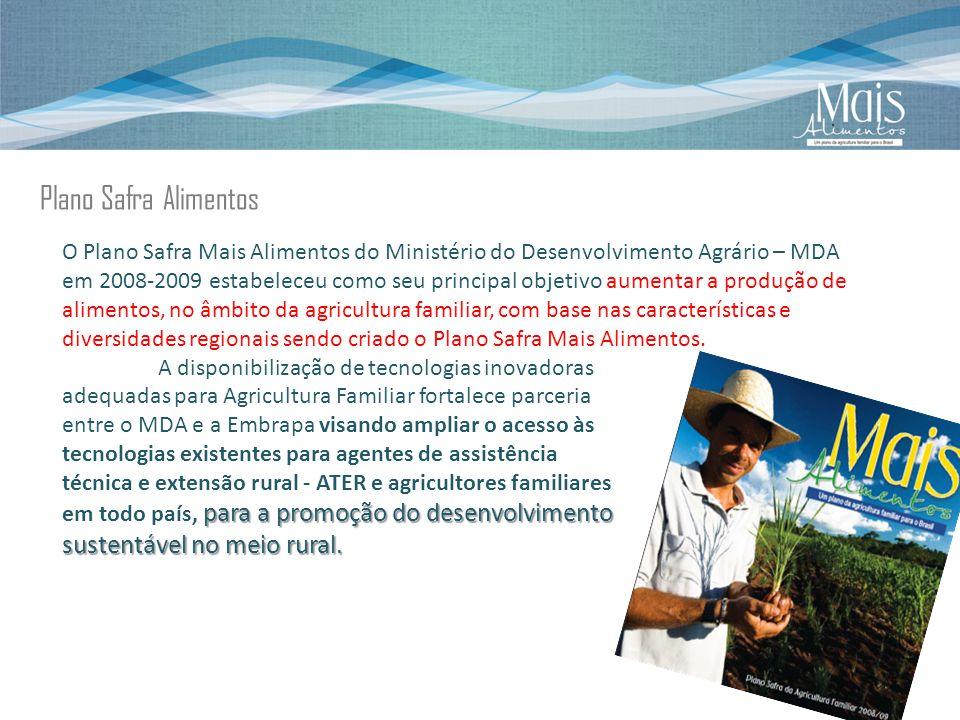 Plano Safra Alimentos O Plano Safra Mais Alimentos do Ministério do Desenvolvimento Agrário – MDA em 2008-2009 estabeleceu como seu principal objetivo aumentar a produção de alimentos, no âmbito da agricultura familiar, com base nas características e diversidades regionais sendo criado o Plano Safra Mais Alimentos.