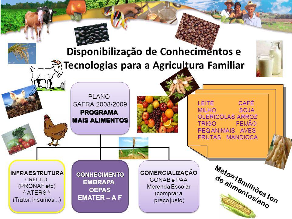 Disponibilização de Conhecimentos e Tecnologias para a Agricultura Familiar LEITE CAFÉ MILHO SOJA OLERÍCOLAS ARROZ TRIGO FEIJÃO PEQ ANIMAIS AVES FRUTAS MANDIOCA LEITE CAFÉ MILHO SOJA OLERÍCOLAS ARROZ TRIGO FEIJÃO PEQ ANIMAIS AVES FRUTAS MANDIOCA PLANO SAFRA 2008/2009PROGRAMA MAIS ALIMENTOS PLANO SAFRA 2008/2009PROGRAMA MAIS ALIMENTOS INFRAESTRUTURA CRÉDITO (PRONAF etc) ^ ATERS ^ (Trator, insumos...) INFRAESTRUTURA CRÉDITO (PRONAF etc) ^ ATERS ^ (Trator, insumos...) CONHECIMENTO EMBRAPA OEPAS EMATER – A F COMERCIALIZAÇÃO CONAB e PAA Merenda Escolar (comprar a preço justo) COMERCIALIZAÇÃO CONAB e PAA Merenda Escolar (comprar a preço justo) Meta=18milhões ton de alimentos/ano