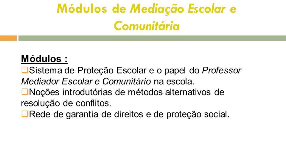 Módulos de Mediação Escolar e Comunitária Módulos :  Sistema de Proteção Escolar e o papel do Professor Mediador Escolar e Comunitário na escola.  N