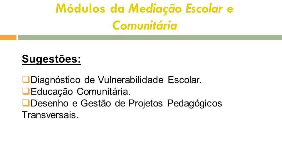 Módulos da Mediação Escolar e Comunitária Sugestões:  Diagnóstico de Vulnerabilidade Escolar.  Educação Comunitária.  Desenho e Gestão de Projetos
